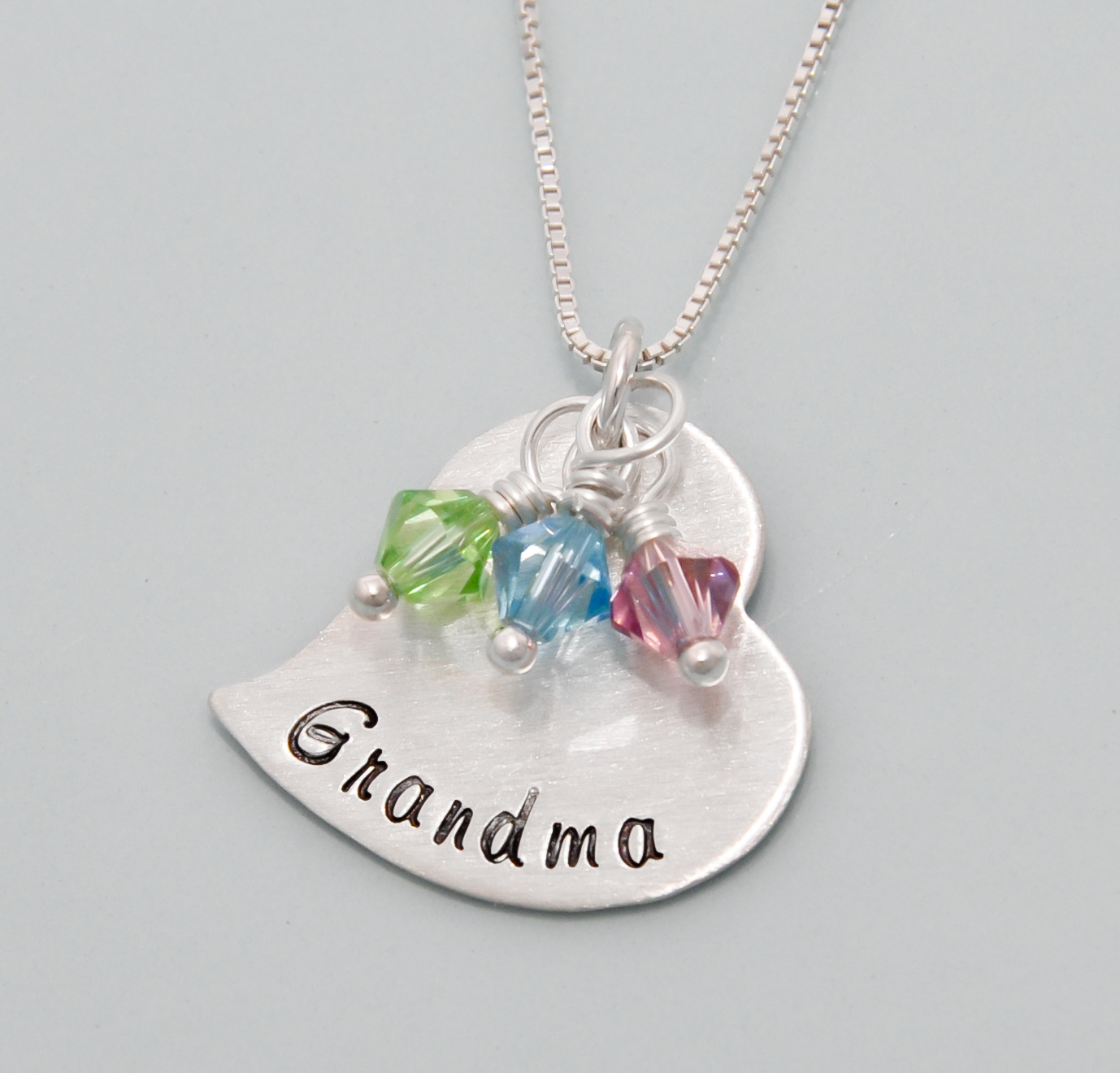 Grandma necklace branded heart jewelry for Grandmother jewelry you can add to