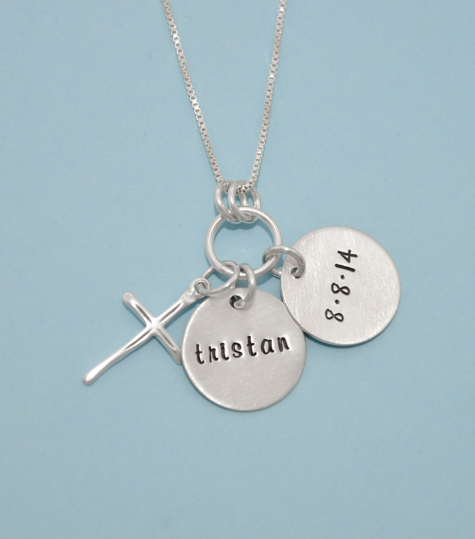 grandma baptism with godmother stamped necklace product disc untitled hand and cross