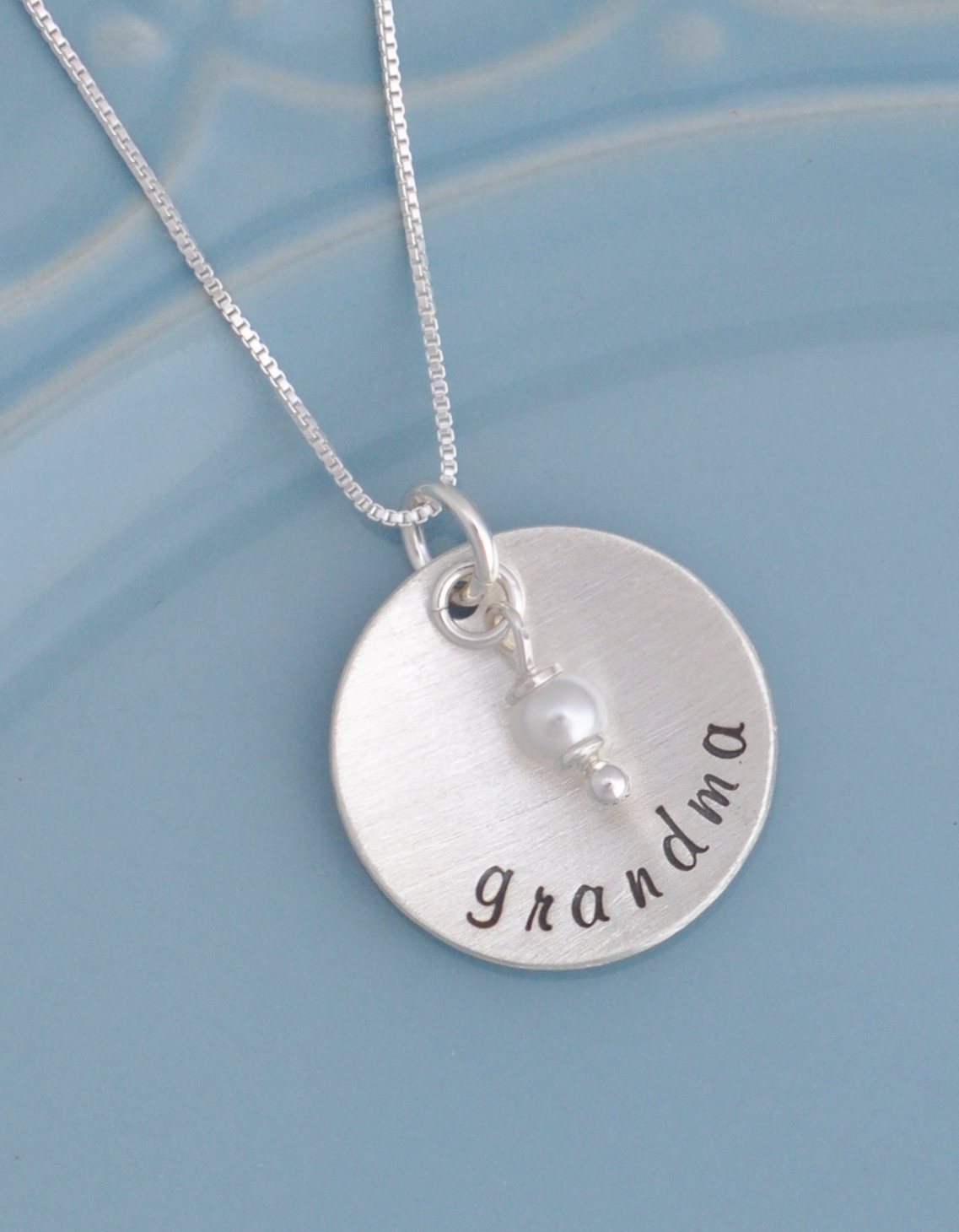 Grandmothers hand stamped necklace great for for Grandmother jewelry you can add to