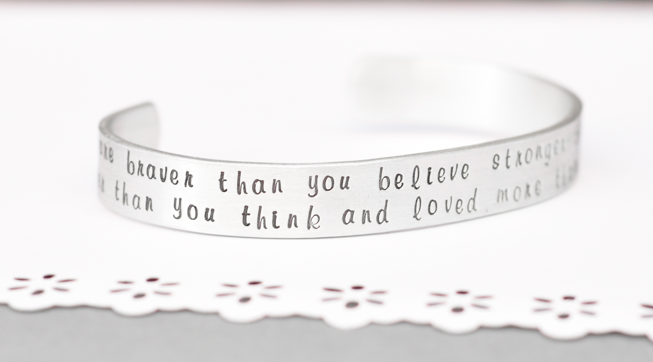Inspirational Hand Stamped Bracelet Braver Than You Know Quote Personalized