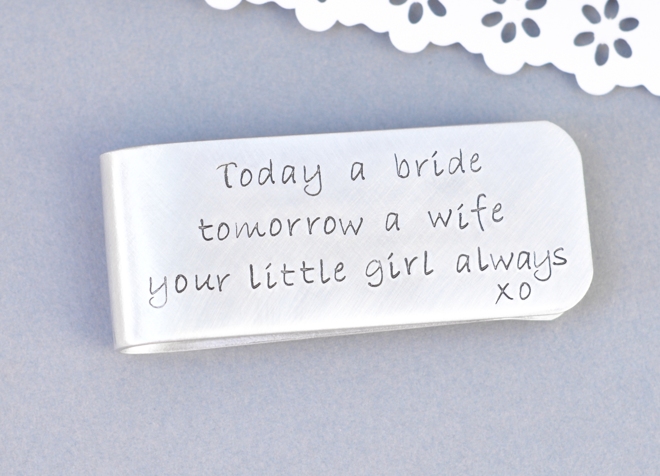 Wedding Gift Dad : Dads Money clip- wedding gift for dad Branded Heart Jewelry