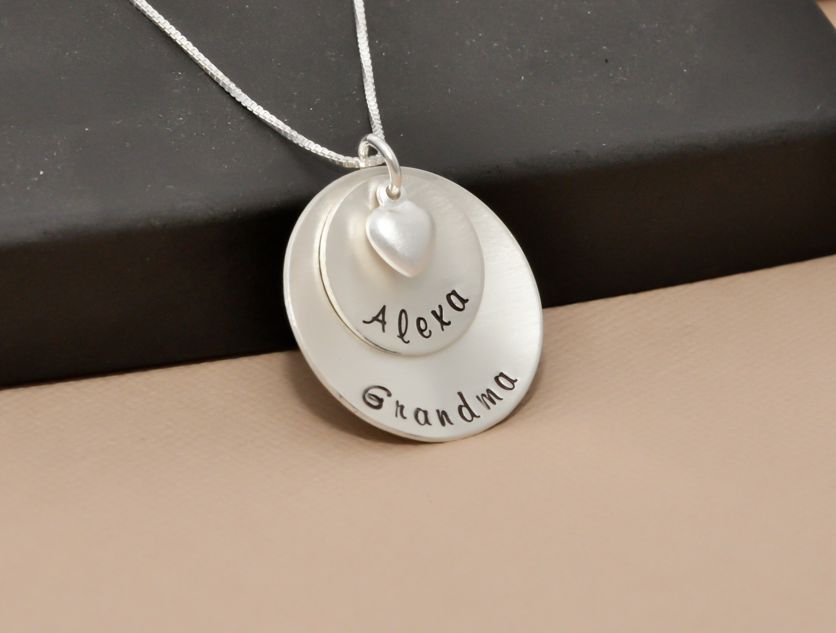 options hand to stamped necklace mom best grandma pendant name product crystal silver plate