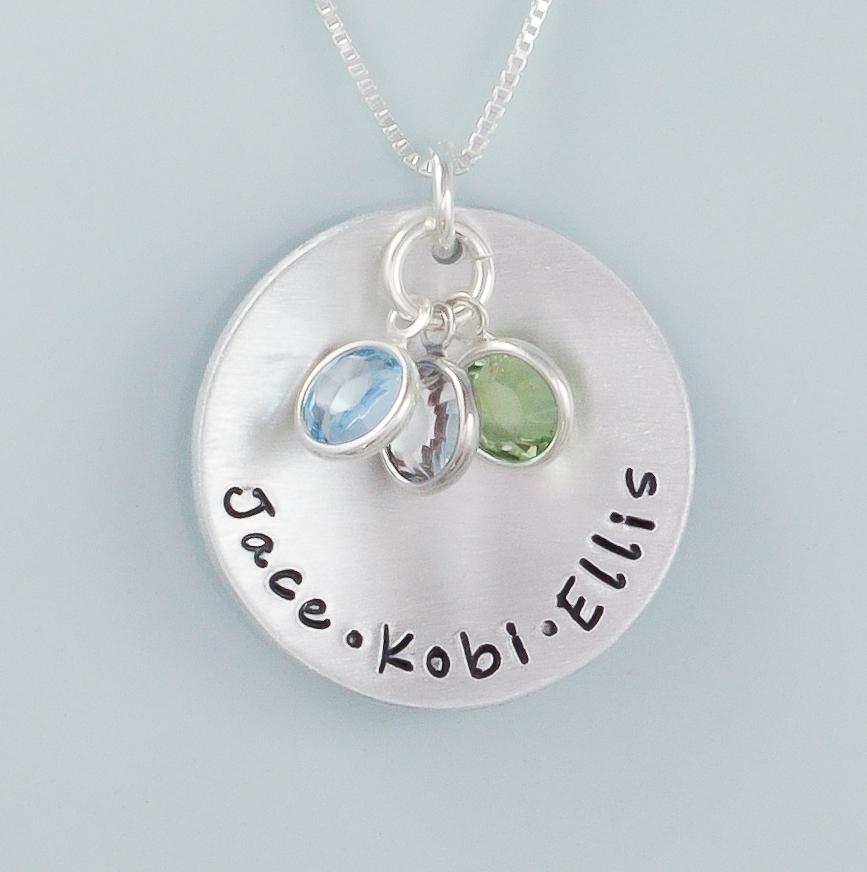 Sterling silver Personalized Hand stamped Mothers Necklace ...