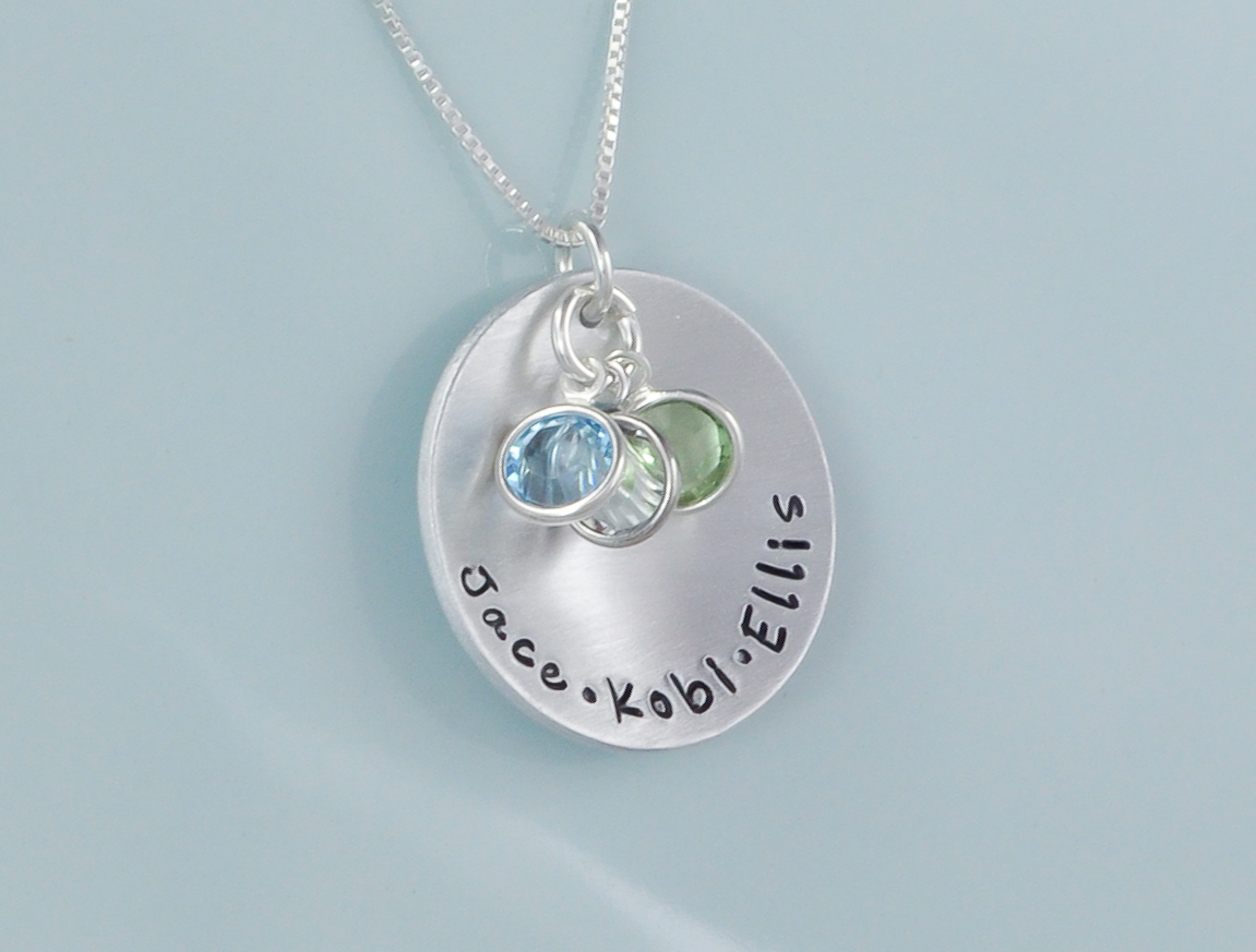 Sterling Silver Personalized Hand Stamped Mothers Necklace